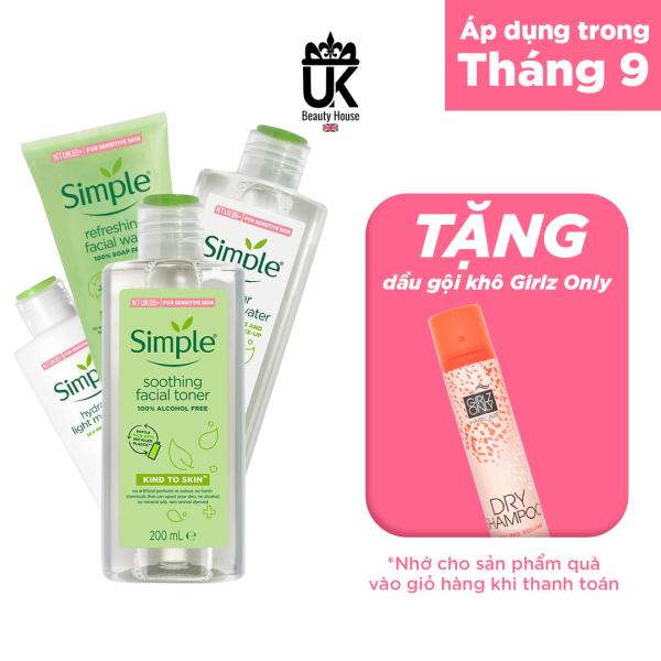 [HCM]Combo 4 món dưỡng da trọn gói Simple: Tẩy trang+Sữa rửa mặt+Toner+sữa dưỡng