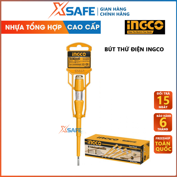Bút thử điện - Bút thử điện có đèn INGCO HSDT1408 100-500V kiểu dáng gọn gàng, khả năng chịu lực, chịu nhiệt, cách điện tốt, nhựa siêu bền chắc chống va đập - Sản Phẩm chính hãng XSAFE