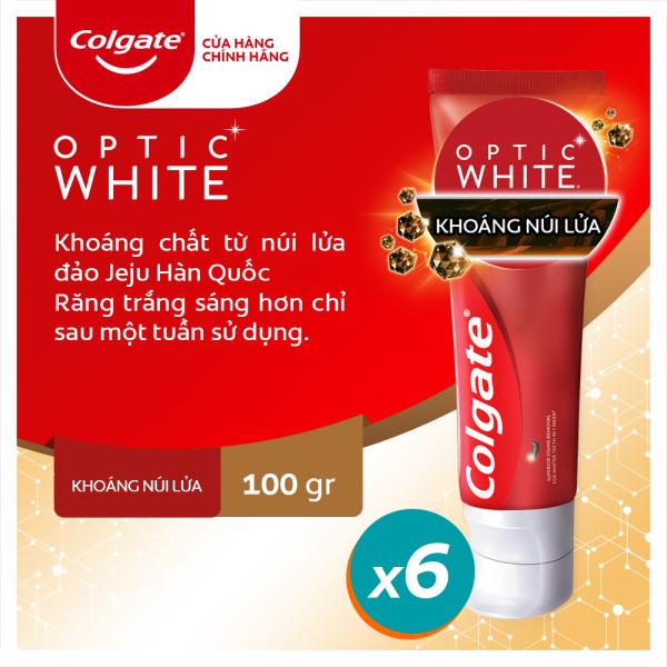 Bộ 6 kem đánh răng làm trắng sáng Colgate Optic White từ khoáng núi lửa Hàn Quốc 100g giá rẻ