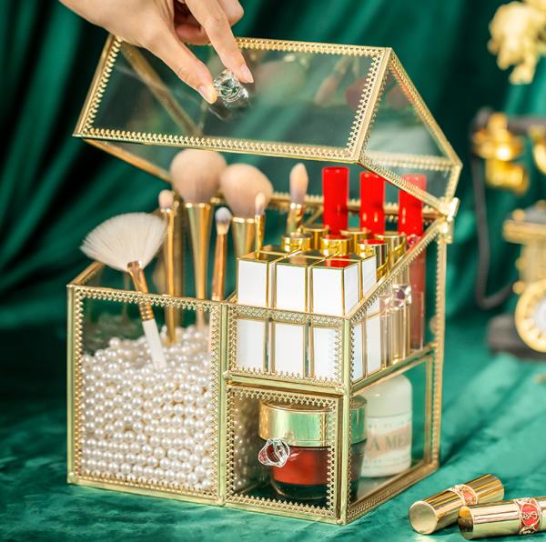 Kệ đựng mỹ phẩm, cọ, son [Giá sốc] thuỷ tinh viền mạ vàng sang trọng hàng có sẵn giá rẻ