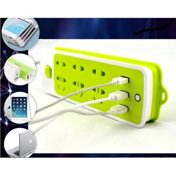 [HÀNG CÔNG TY] Ổ cắm điện đa năng 6 phích cắm tích hợp 3 cổng sạc USB, Ổ cắm điện chống giật, Ổ cắm điện xanh lá. giá rẻ