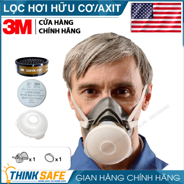 Mặt nạ phòng độc 3M 3200 kèm phin lọc 3301K-100, lọc hữu cơ/ACID mặt nạ phun thuốc bảo vệ thực vật, hơi sơn, hóa chất - Bảo hộ Thinksafe