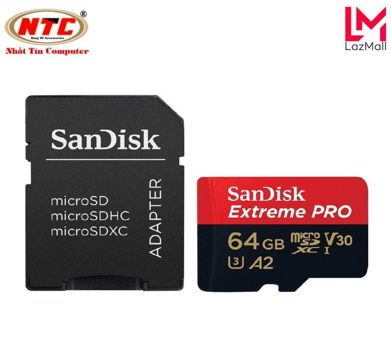 Thẻ Nhớ MicroSDXC SanDisk Extreme Pro V30 U3 4K A2 64GB R170MB/s W90MB/s (Đen đỏ) - Nhat Tin Authorised Store