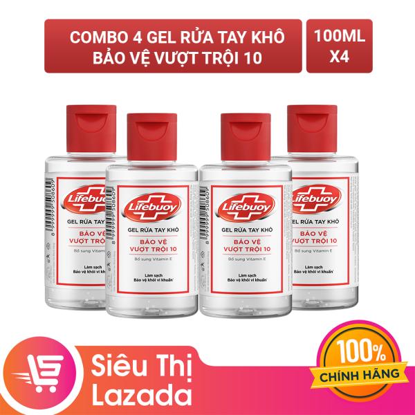 Combo 4 chai Gel rửa tay khô sạch siêu nhanh Lifebuoy bảo vệ vượt trội 10 (Chai nắp 100ml) giá rẻ