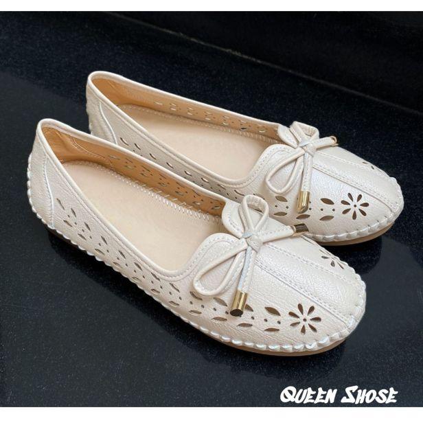Giày lười nữ - giày bệt nữ đính nơ - giày búp bê nữ thiết kế đục lỗ hoa văn sang chảnh giá rẻ