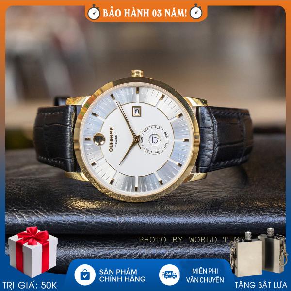Nơi bán Đồng hồ nam Sunrise 1115SA, full hộp, thẻ bảo hành 3 năm, sapphire chống xước, chống nước, dây da