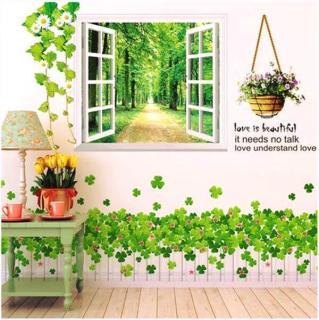 Decal dán tường cửa sổ xanh và hàng rào trắng thumbnail
