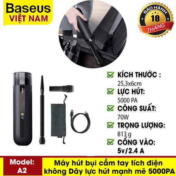 Máy hút bụi cầm tay tích điện mini không dây Baseus A2 Car Vacuum Cleaner lực hút mạnh mẽ 5000PA cho gia đình, xe hơi hay văn phòng