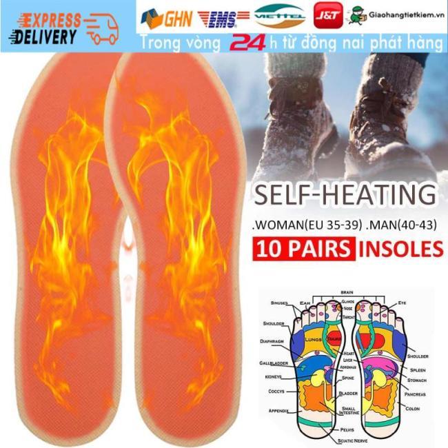 【Trong 24h Gửi Hàng】Bộ 10 Cặp Lót Giày Giữ Nhiệt Sưởi ấm đôi Bàn Chân giá rẻ