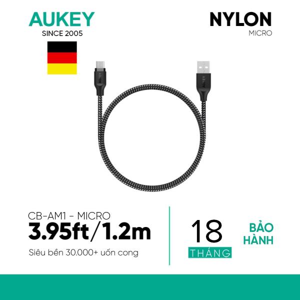 Cáp Sạc Micro USB Aukey CB-AM1 Siêu Bền Dài 1.2 Mét - Bảo Hành 18 tháng - Hàng Phân Phối Chính Hãng