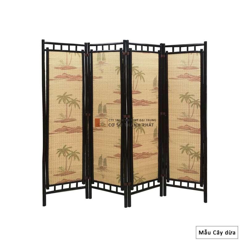 Bình phong tre khung nâu sơn PU, sơn bóng 4 cánh Đại Trung mẫu cây dừa 1m75 x 0.5m