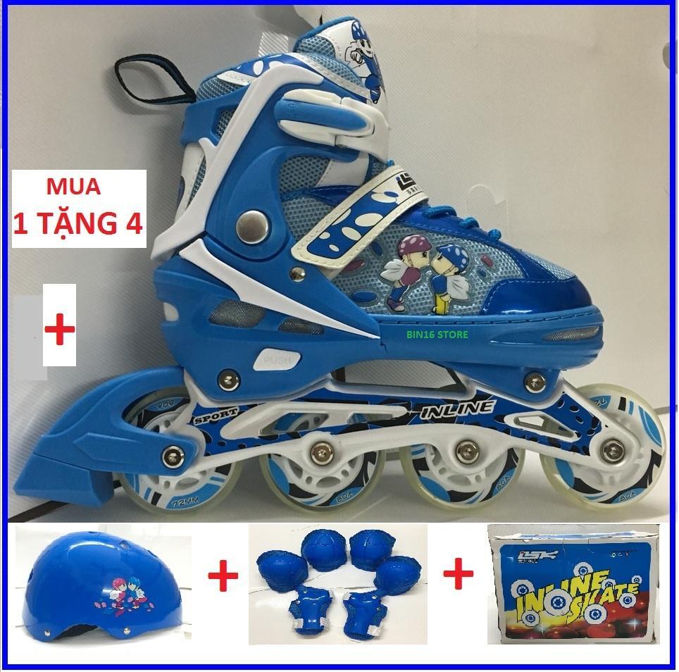 Giá bán Combo Giày trượt patin Phát Sáng INLINE: Giầy + Mũ + Bộ Bảo Vệ Chân Tay + Hộp, Giá Siêu Rẻ