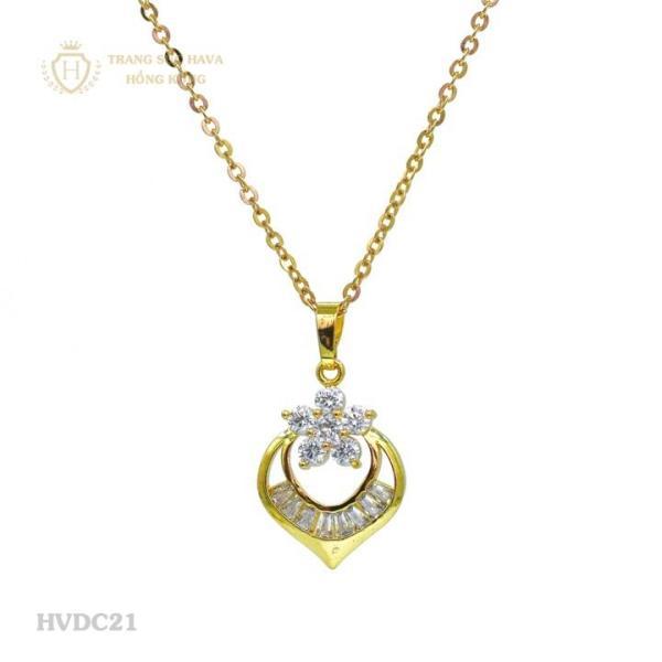 Vòng Cổ, Dây Chuyền Nữ Mặt Giọt Nước Đính Đá Titan Xi Mạ Vàng - Trang Sức Hava Hồng Kông