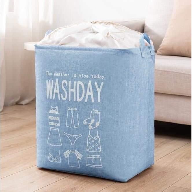 Túi đựng chăn màn quần áo gấp gọn bằng vải chống thấm không dệt, khung thép siêu bền, tiết kiệm không gian tủ quần áo, có thể tái sử dụng nhiều lần - Giỏ đựng đồ đa năng rút dây có quai xách 2 bên hông