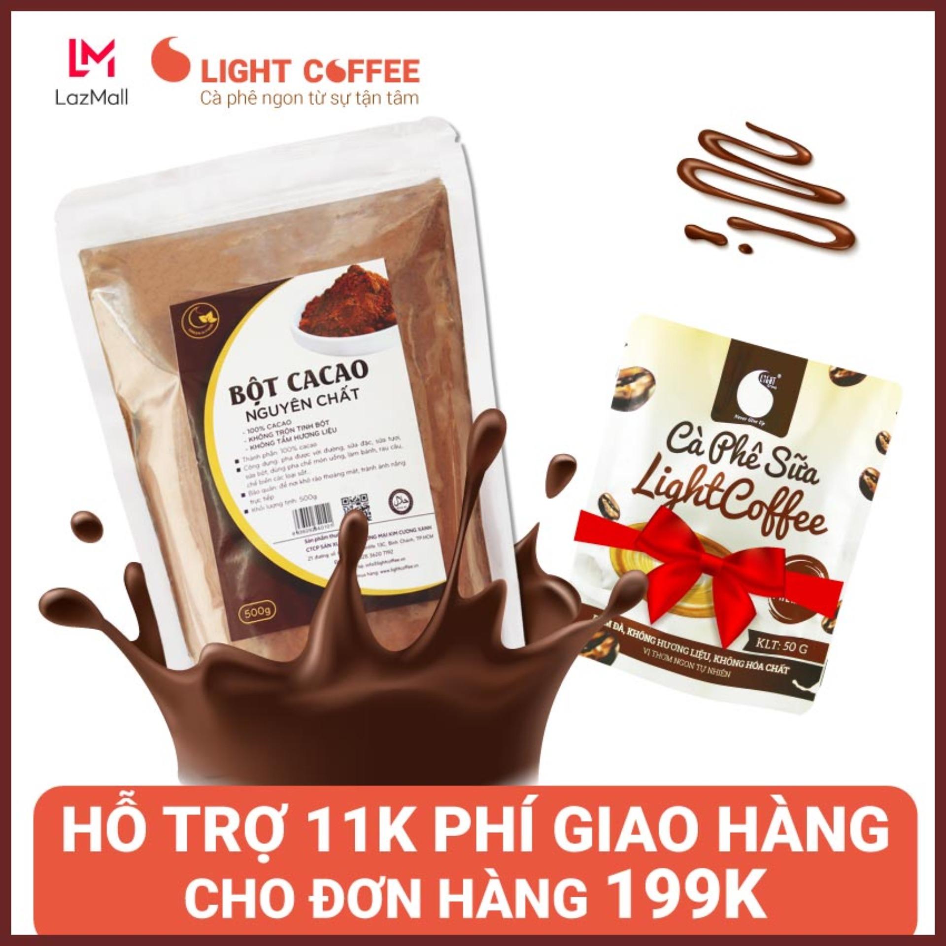 Bột cacao nguyên chất cao cấp , không pha trộn tạp chất , dễ tan, đậm đà, Light Ca cao , 500g - Tặng 1 gói cà phê sữa 50g