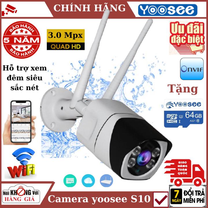 (Tùy Chọn Kèm thẻ nhớ 128GB - bảo hành 5 năm), camera wifi ngoài trời yoosee S10 3.0Mpx , Đàm thoại 2 chiều , cảnh báo chuyển động , chống nước Ip68 , camera ip , camera wifi , camera an ninh , camera chống trộm , camera giám sát