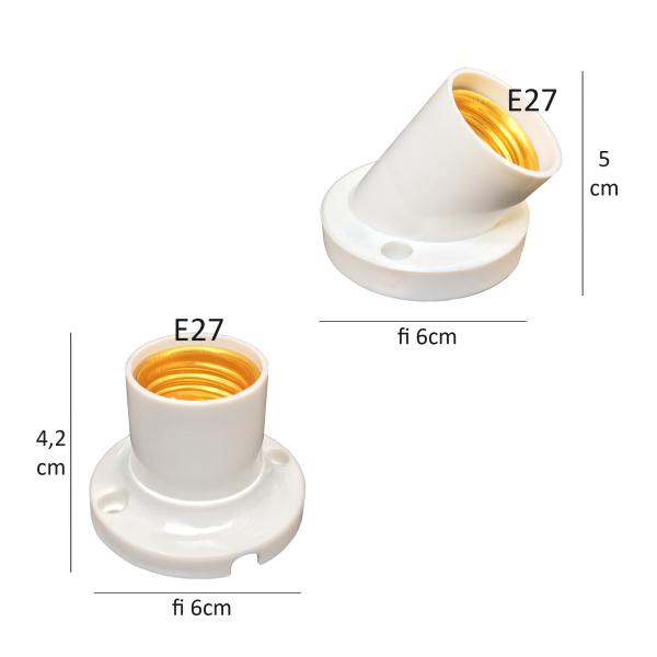 10 Đui đèn gắn ốp tường E27 đui xoáy 27mm chếch góc 45 độ hoặc vuông 90 độ LH-Ax