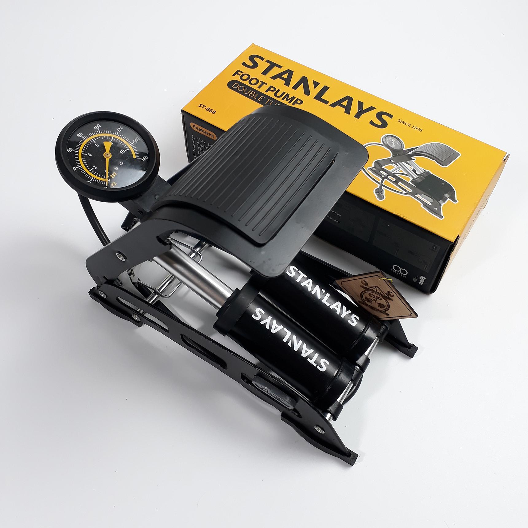 bơm hơi đạp chân 2 nòng Stanlays - Bơm hơi đạp chân mini 2 ống bơm ô tô xe máy Stanlays
