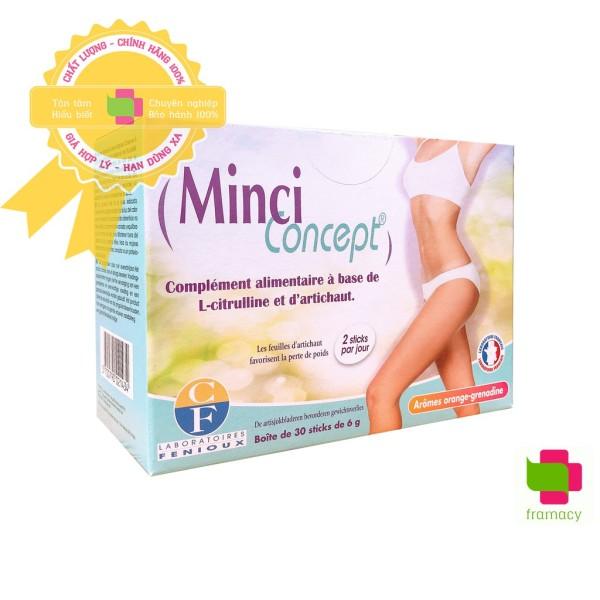 Giảm cân Minci Concept, Pháp (30 gói) giảm mỡ bụng eo đùi cho phụ nữ an toàn, không gây mệt mỏi, mất nước