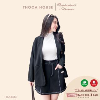 Áo blazer túi xéo style Hàn Quốc THOCA HOUSE đen, trắng, kem, hồng, cà phê freesize cho cả đi làm, đi chơi sành điệu thumbnail