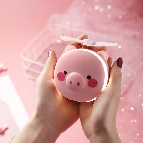 Quạt HÌNH HEO mini kèm gương và đèn led hình heo siêu dễ thương