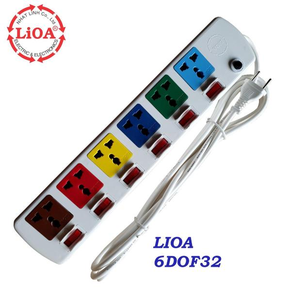 Ổ cắm điện LIOA 6 ổ cắm 6 công tắc công suất 2000 Watt dây dài 3 mét màu trắng hoặc màu đen 6DOF32