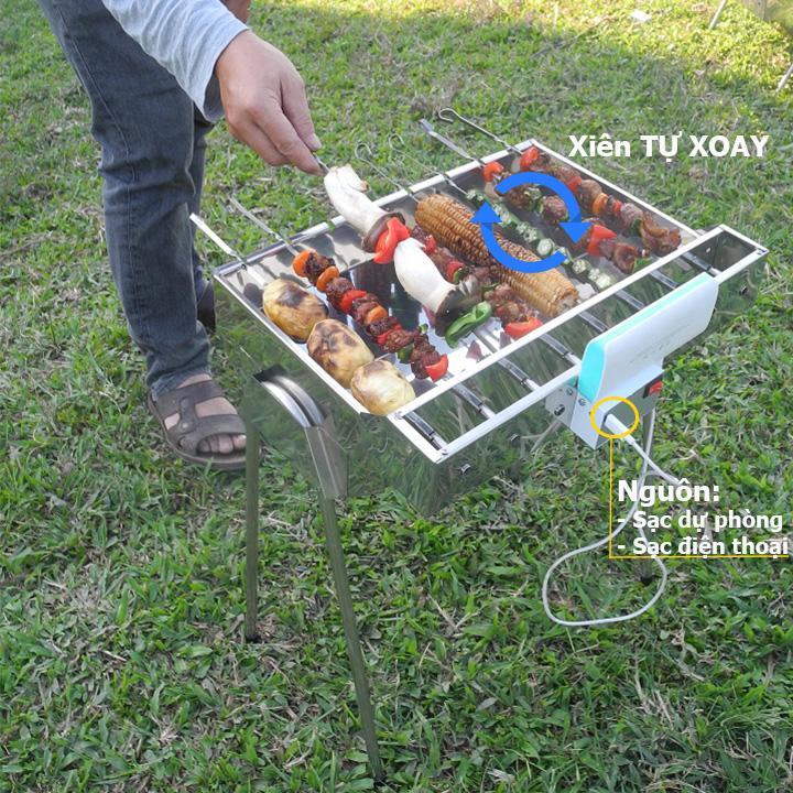 Bếp nướng than hoa MekongTech-V3 dáng cao Tự xoay giúp chống cháy thực phẩm an toàn sức khỏe, chất liệu INOX( kích thước45x35x52cm), than hoa không khói dùng nướng ngoài trời dã ngoại