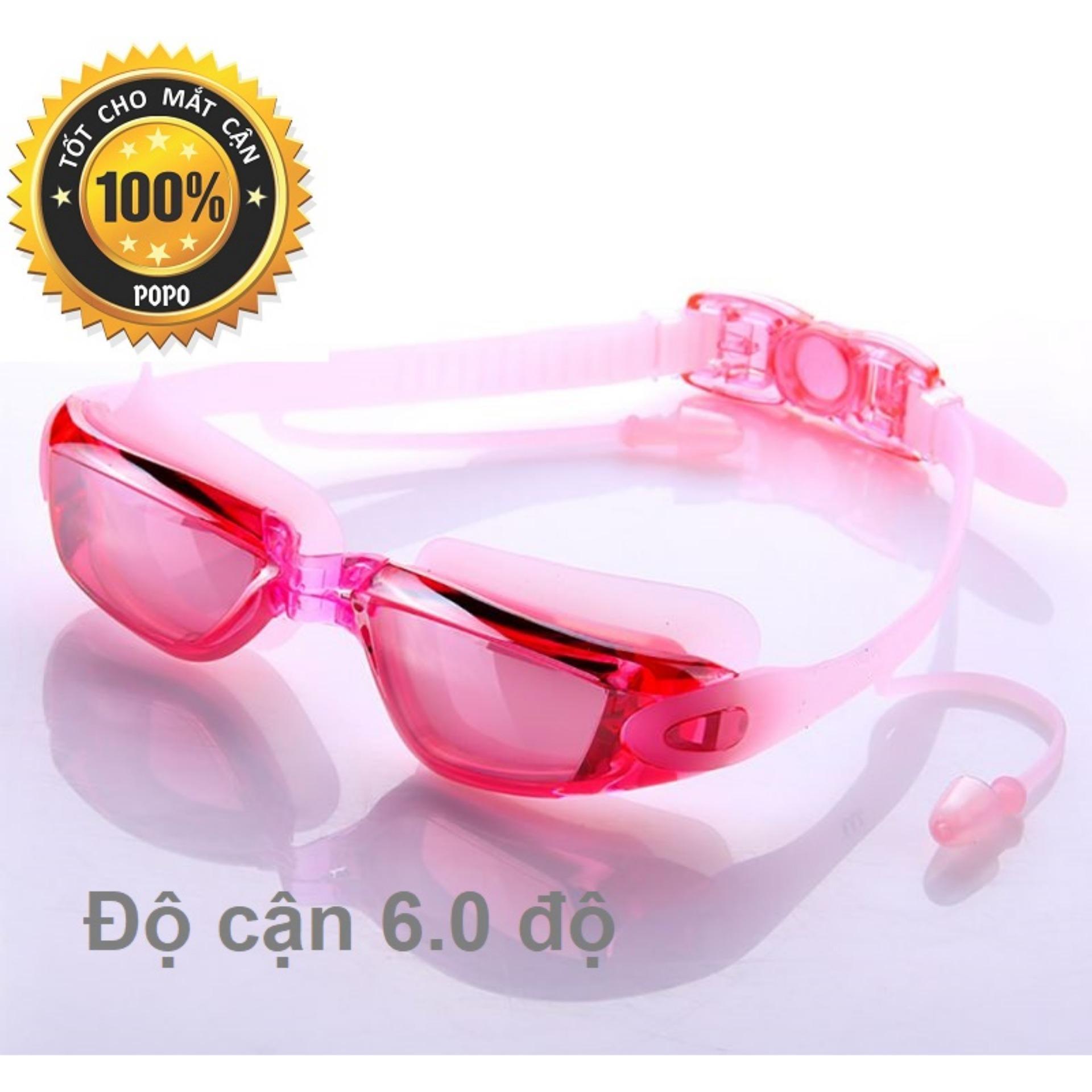 Kính bơi cận 1940 Hồng độ cận 6.0 độ có gắn nút bịt tai ngăn nước; mắt kính chống tia UV, kiểu dáng thời trang