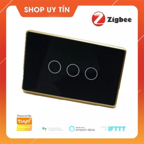 Bh 6 tháng - Công Tắc Thông Minh Zigbee Tuya Smart 3 Nút Cảm Ứng Mặt Kính Hình Chữ Nhật