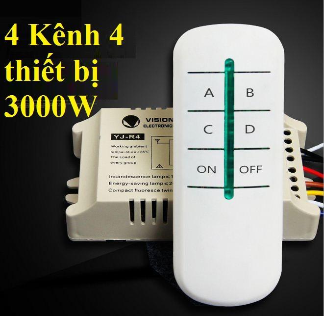 Công tắc điều khiển từ xa RF 4 cổng xuyên tường  công xuất 3000W khoảng cách 20M Vision Electronic (Trắng)