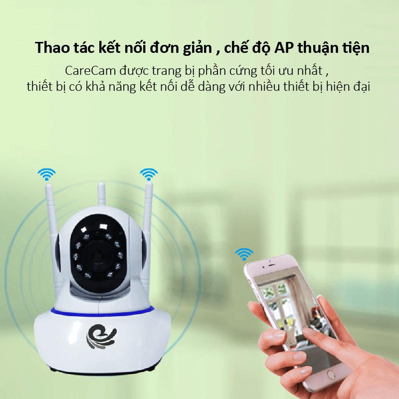 Camera wifi quan sát trong nhà carecam, ipcamera 3 râu, hình ảnh sắc nét full HD, góc quay rộng, hú báo trộm, đàm thoại 2 chiều, dễ dàng sử dụng, tích hợp hồng ngoại, điều khiển bằng điện thoại XFL200