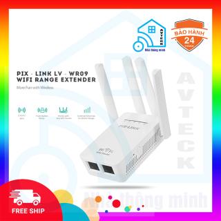 [FreeShip] Bộ kích sóng wifi PIX-LINK LV-WR09 điện thoại Avteck Hỗ trợ băng tần 2.4GHz Tốc độ tối đa 300Mbps 4 ăng-ten Chế độ Repeater, Gateway Mode, hàng chính hãng-bảo hành 12 tháng thumbnail