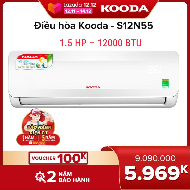 Điều hòa Kooda 1.5 HP – 12000 BTU - S12N55 ( Trắng )- Hàng chính hãng