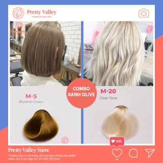 Combo thuốc nhuộm tóc màu xanh olive Molokai M5 (1 màu tẩy và 1 màu xanh olive) - Pretty Valley thumbnail