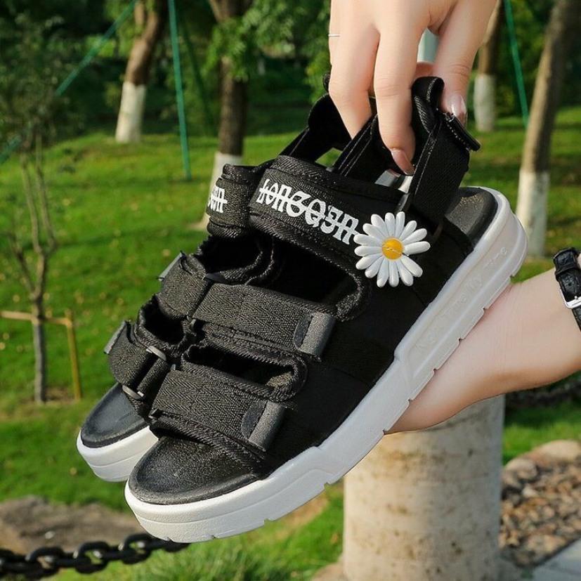 (2 màu kèm Video) Sandal nữ,sandal Ullzang thời trang hoa cúc 3 quai dán siêu đẹp giá rẻ