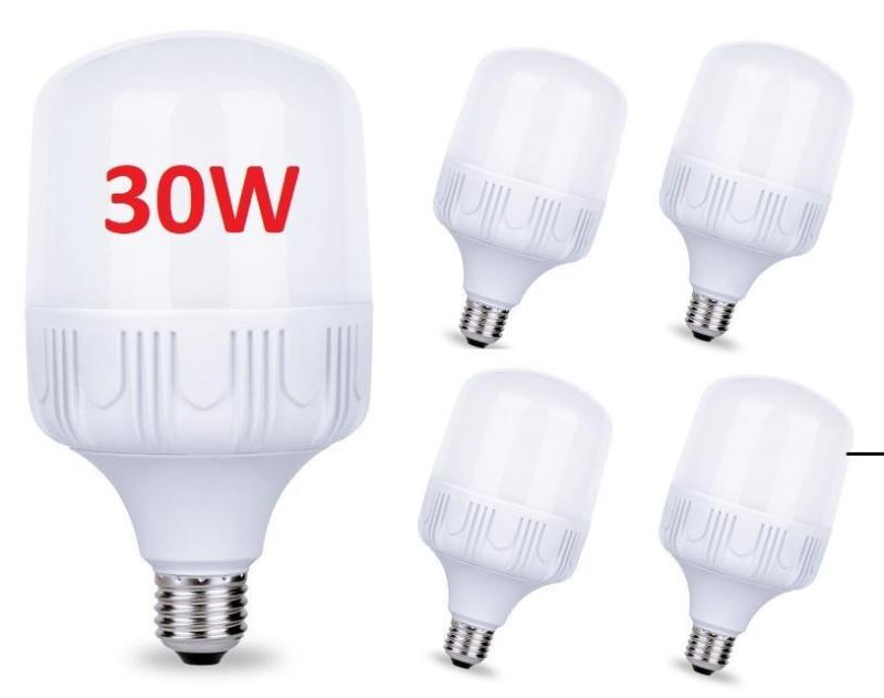 Bộ 4 Bóng đèn Led 30W siêu sáng tiết kiệm điện, đuôi E27, điện áp đầu vào 220V, chùm tia góc 360 độ, Lumens (lm) 1100-1210LM (Trắng)