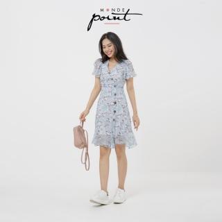 Áo đầm thiết kế Monde Point MPWA08141101 hoa xanh nút eo, kiểu dáng nữ tính, màu sắc trang nhã, dễ phối với nhiều trang phục, phụ kiện khác nhau thumbnail