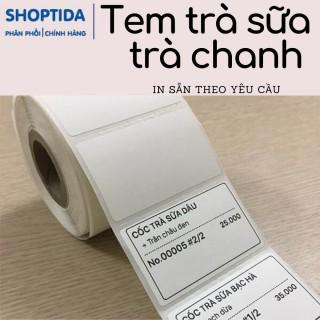 Tem trà sữa trà chanh in sẵn theo yêu cầu chủ quán, in nhiệt decal Shoptida 50x30mm và 50x50mm thumbnail