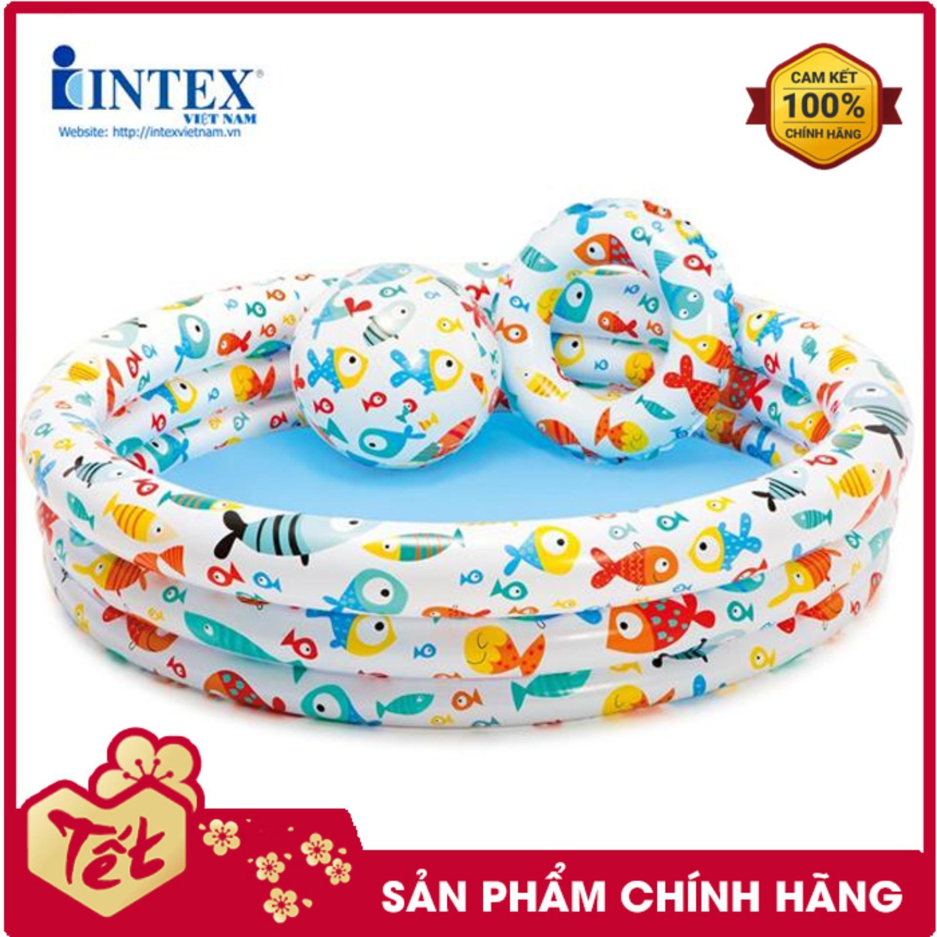 Bộ Bể 1m32 + Bóng + Phao Intex 59469 - Hồ Bơi Cho Bé Mini, Bể Bơi Phao Trẻ Em, Do Choi Tre Em Với Giá Sốc