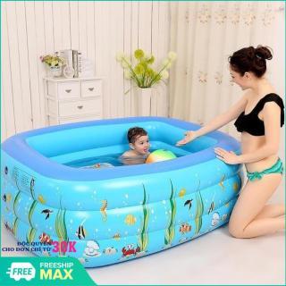 Bể bơi phao Cỡ lớn cho bé và gia đình - Bể bơi phao 3 tầng cho bé size to 150x110x50cm (Xanh) - Bể bơi phao gia đình cao cấp loại to dày -Hồ bơi phao cho bé cho trẻ em tập bơi thumbnail
