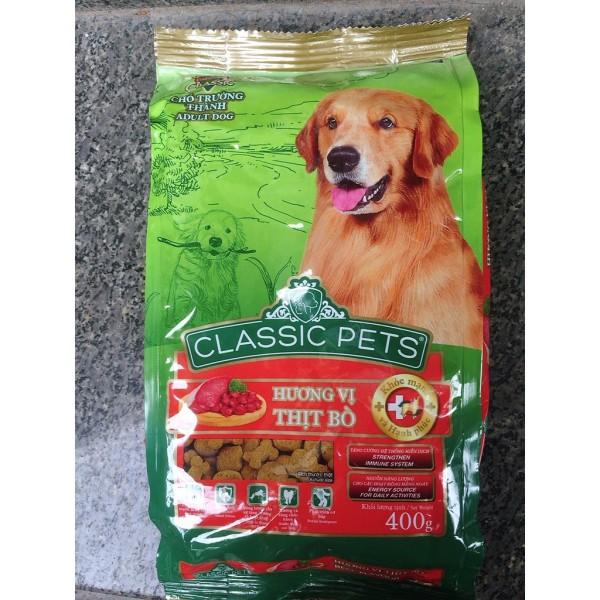 Thức ăn hạt cho Chó lớn CLASSIC PETS gói 400g - Vị Thịt Bò Nướng