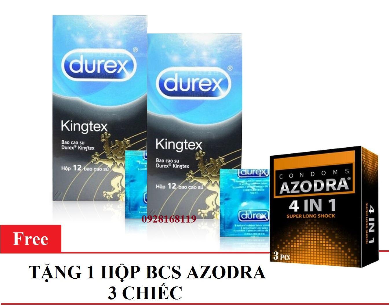 Combo 2 hộp Bao cao su Durex Kingtex size nhỏ 49mm - Không lo tuột bao hộp 12 cái  tặng 1 hộp bcs AZODRA 3 cái cao cấp