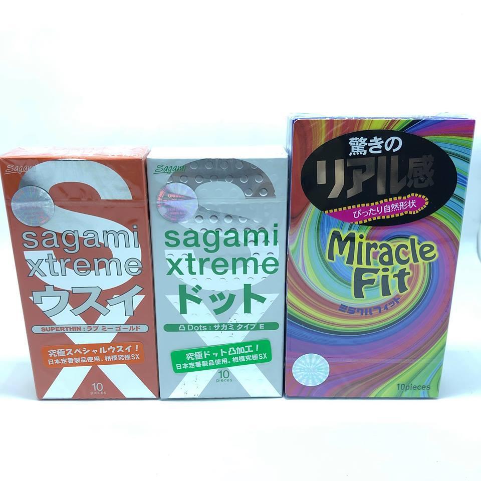 Bộ 3 bao cao su siêu phẩm của SAGAMI mỏng nhất thế giới + kéo dài qh cao cấp