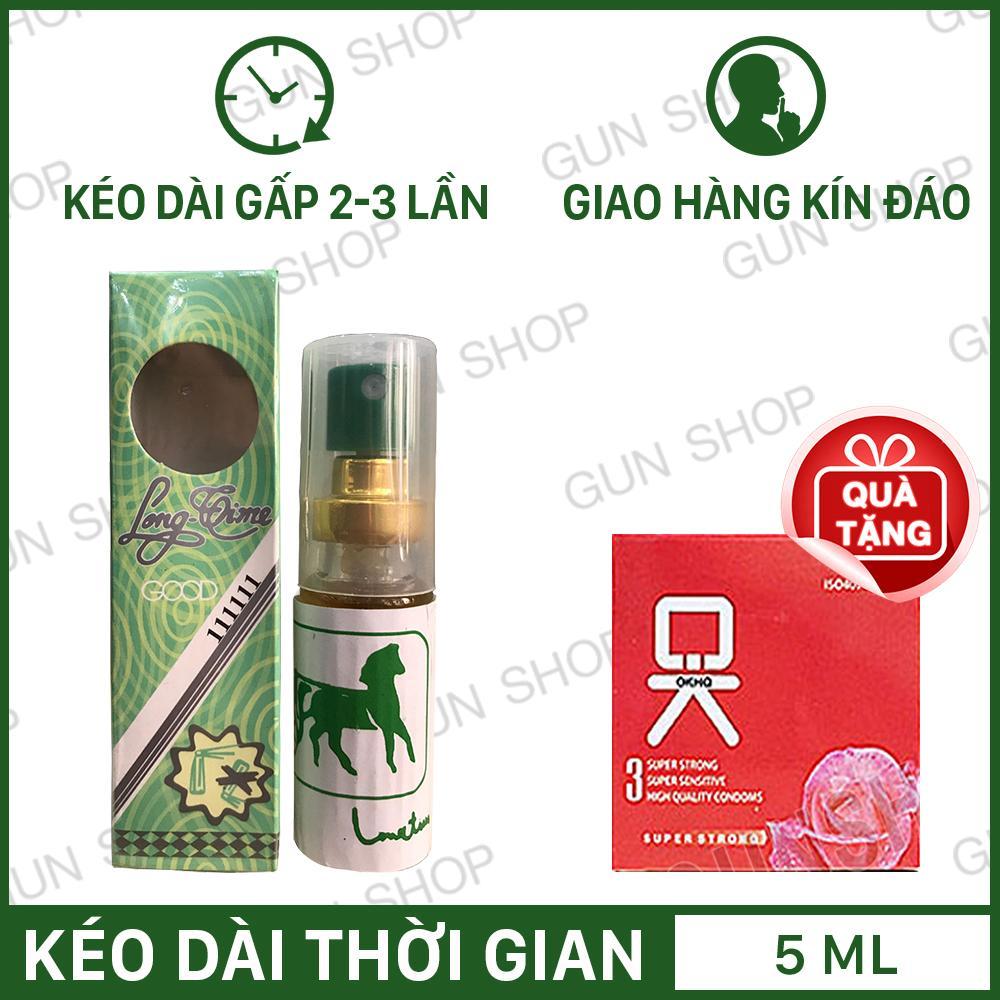 [5ml] Tinh chất chai xịt Thái Lan Longtime kéo dài thời gian quan hệ trị xuất tinh sớm + Tặng 1 bao cao su Ok không mùi (Hộp 3 chiếc) - Gunshop chính hãng