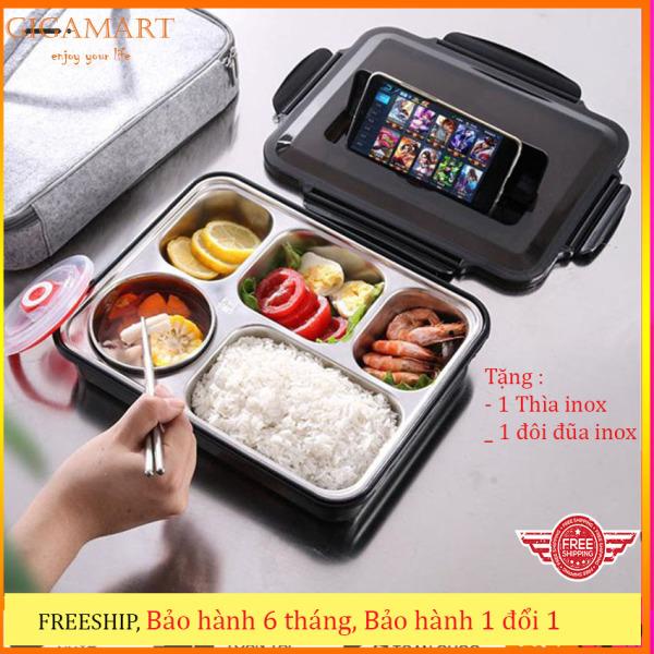 Khay cơm 5 ngăn inox 304 giữ nhiệt Gigamart, nắp đậy có khe đựng điện thoại, tặng kèm thìa và đũa inox