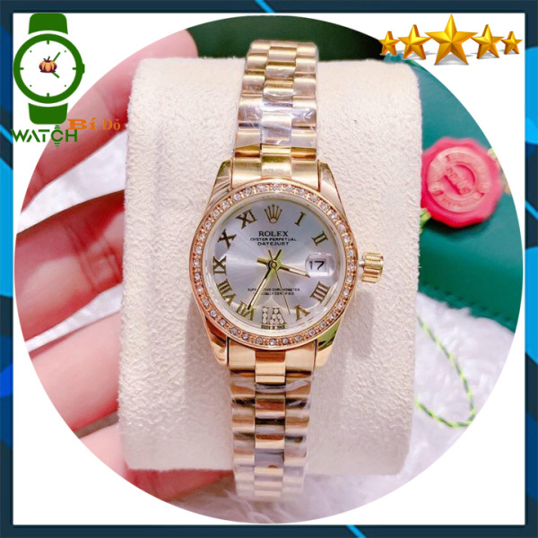 Đồng hồ nữ Rolex cao cấp size 26mm dây đúc KHÔNG GỈ, mặt đính hạt, kính sapphire CHỐNG NƯỚC (Dây màu vàng mặt màu trắng) - Bảo hành 12 tháng bán chạy
