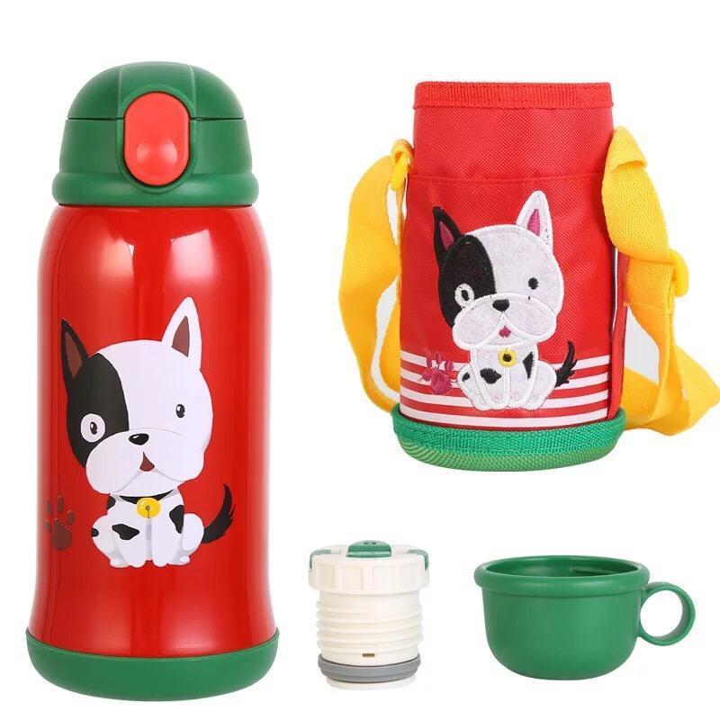 Bình đựng nước uống 600ml cho bé đi học - giữ nhiệt 12 giờ và có ống hút (Tặng kèm túi vải)