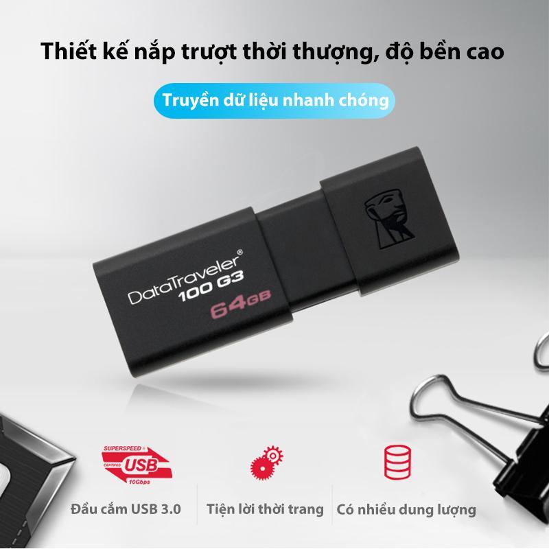 Giá USB Kingston Thiết Kế Nắp Trượt Thời Thượng độ Bền Cao USB Thời Thượng/Bộ Nhớ Lưu Trữ Nhiều Bộ Nhớ Data Traveler 100 G3 16/32/64G