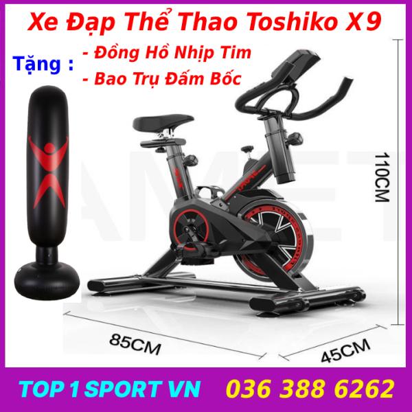 Xe đạp tập thể dục thể thao tập gym tại nhà Toshiko X9 Spin Bike Chính Hãng tặng trụ đấm bốc ( hoặc tạ chân thể lực cao cấp ) + đồng hồ cảm biến nhịp tim, bảo hành 3 năm