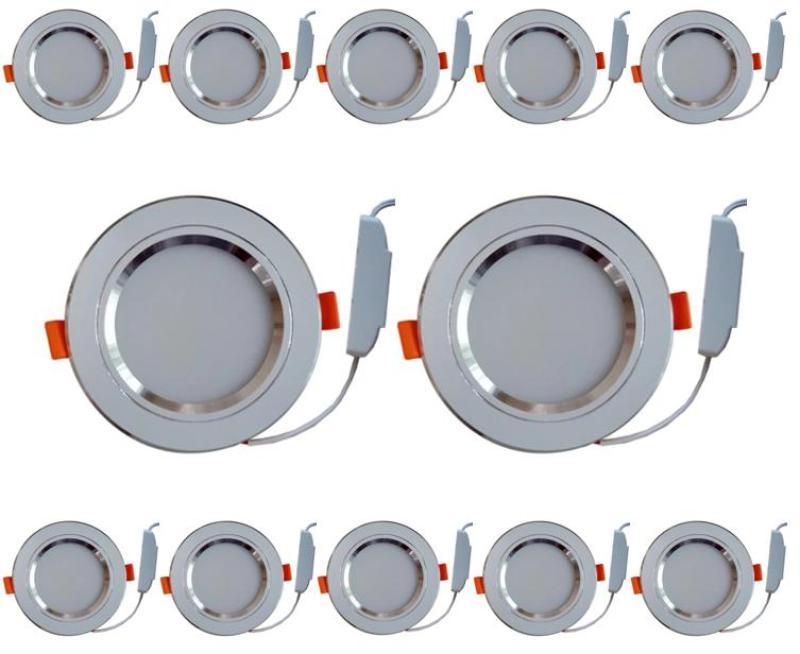 Combo 12 bộ đèn led âm trần viền bạc 7w  3 màu 3 chế độ.